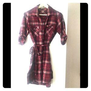 Red & grey plaid flannel tunic dress